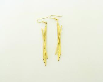 Brass Wire Earrings-Gold Statement Earrings-Gold Modern Earrings-Wire Long Earrings-Gold Long Earrings-Contemporary Jewelry-Wire Earrings