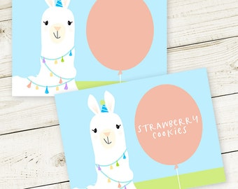 PRINTABLE Llama Party Buffet Tents - #DIY #digital #file