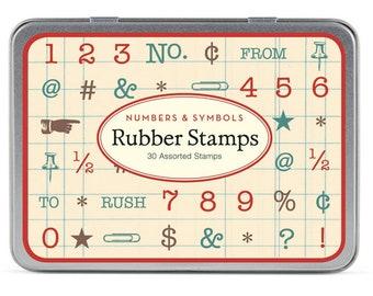 Cavallini Mini Vintage Numbers & Symbols Rubber Stamp Set x 30 Stamps