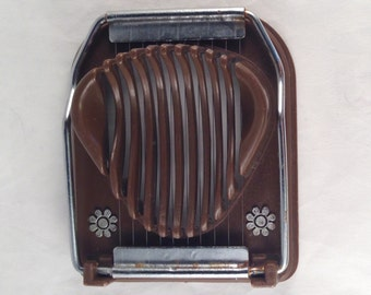 "Egg Slicer Coppertone Brown and Silver with White Flowers from the 1960's, 4.5 "" Long and 3.5"" Wide, Previously Twelve Dollars ON SALE"
