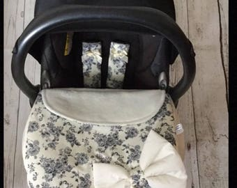 baby car seat apron harness strap covers detachable padded bow grey cream plain fabric panel vintage floral satin bows new universal fit