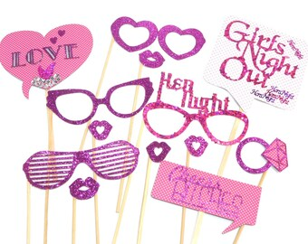 Photo Booth Props - Set of 13 Girls Night Out Hens Night Bachelorette Wedding Party Props