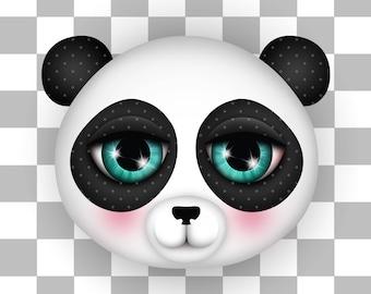 Giclee Fine Art Print of my Digital Illustration, Panda, 8x8