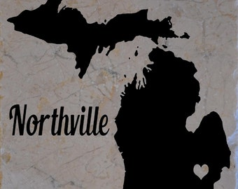 Set of 4 Northville Michigan Coasters Free Shipping