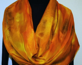 Silk Scarf Hand Painted Silk Shawl Orange Yellow Brown  Hand Dyed Silk Scarf GOLD FOLIAGE Large 14x72 Birthday Gift Scarf Gift-Wrapped Scarf