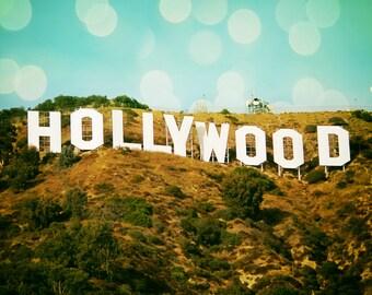 "LA Photography - hollywood sign 8x10 photo bokeh hollywood hills 11x14 los angeles wall art california photography summer ""Hollywood"""