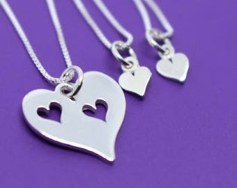 Mother Daughter Necklace Set - Mother two 2 Daughters Jewelry Set of 3 Sterling Silver- Mommy and Me - Mother Child Jewelry - Mother's
