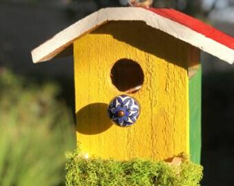 Rustic Handmade Birdhouse with feeder,  Rustic Bird House, Hanging, Stained, Cedar Wood, Wild Bird