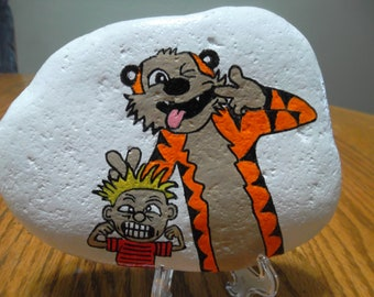 Hand painted Rock Calvin and Hobbes