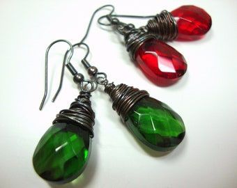 Dark Red or Green Crystal Earrings, Deep Red Green Swarovski Flat Briolette Wire Wrapped Oxidized Sterling Silver.