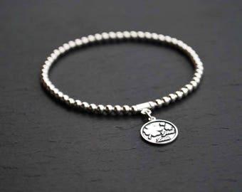Charm STERLING SILVER BRACELET,  Clover and Good Luck, Beaded bracelet
