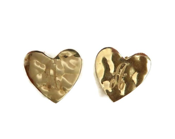 Vintage Gold Earrings, Heart Earrings, Solid Gold Earrings, Gold Studs, Stud Earrings, Letter Earrings, Letter Studs, Hammered Earrings