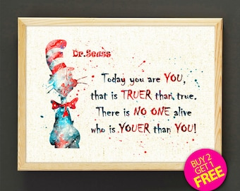 Dr. Seuss Quote print, Dr. Seuss watercolor print, Quote poster, Doctor Seuss Quote art, wall art, home decor, kids nursery gifts -536