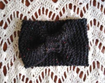 Hoofdband in handgemaakte wol brei hoed winter gevlekt grijze tulband hoofdband