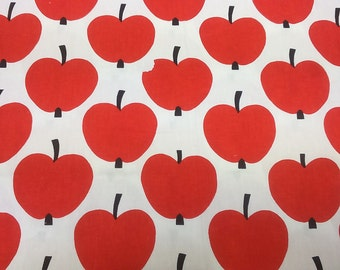 Curtain panel White red apples worm apple Abstract Modern Decor Cafe curtain Kitchen valance , also runner , napkins available, great GIFT