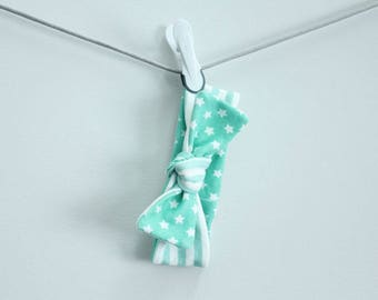 headband baby mint stripe and stars Organic knot by PETUNIAS  modern newborn shower gift photography prop outfit accessory girl