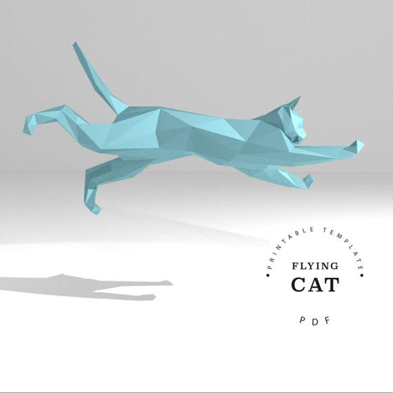 Printable DIY template (PDF, PDO, dxf). Flying Cat paper model ...