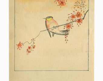 Playful Bird, Watercolor reproduction of Japanese woodblock print by Ohara Koson