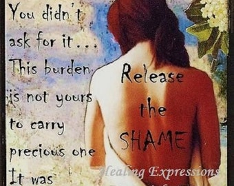 RELEASE THE SHAME altered art therapy collage trauma abuse Atc Aceo Print