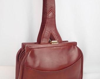 1930's Art Deco Horse Chestnut Tan Leather Handbag Purse A&C Vintage