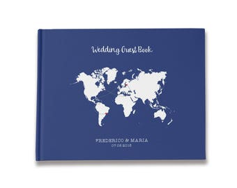 Map guestbook etsy map wedding guestbook blue and white wedding map guest book destination wedding guest book gumiabroncs Image collections