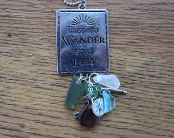 "Silver ""Those Who Wander Are Not Lost"" Car Charm"