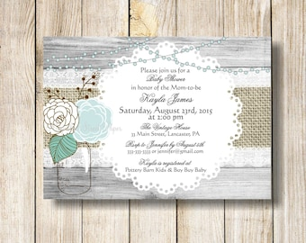 Mason Jar Baby Shower Invitation, Rustic Wood Burlap and Lace Baby Boy Baby Shower Invite, Mint Mason Jar Baby Shower Invitions