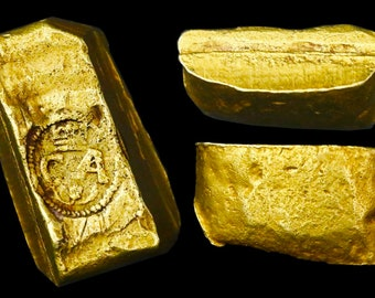 GOLD BAR CUT crowned charles tax stamp spain treasure shipwreck era for coin