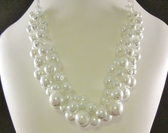 Pearl Cluster Necklace in Bright White - Chunky, Choker, Bib, Necklace, Wedding, Bridal, Bridesmaid, Prom, Hand Crafted, Party Pearls, SRAJD