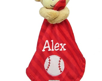 PERSONALIZED Infant Baby Security Snuggly Blankie Baseball Monkey