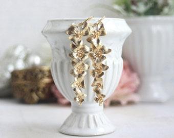 Gold Orchid Flower Earrings Gold Floral Dangle Earring Long Gold Orchid Earring Bridal Flower Jewelry Cascading Flowers Nickel Free Earrings