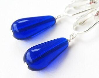 Cobal Blue Dangle Clip Earrings, Bright Navy Blue Glass Teardrop Non Pierced Earrings, Simple Ultramarine Clipons, Silver Ear Clips, Paros