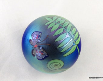 Orient & Flume Butterfly, Fern and Fiddlehead Fern Paperweight by Bruce Sillars with 1984 Date Cane  - Vintage Studio Art Glass
