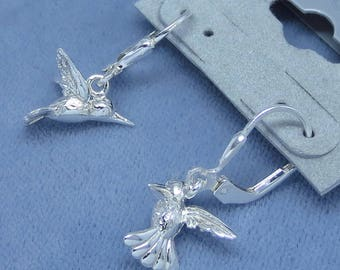 Sterling Silver 3-D Hummingbird Earrings - Small Dainty - Leverback - Available Separately:  Necklace or Brooch Pin - 171259