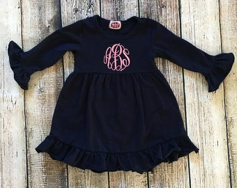 Monogrammed Navy Ruffle Dress - Personalized girls dres