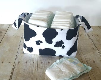Fabric Storage Basket - Diaper Caddy - Cow Print  - Toy Storage