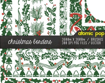 Instant Download // Christmas Holiday Holly & Vines Digital File Borders // Vector, Photoshop Brushes Clipart, and PNG Files
