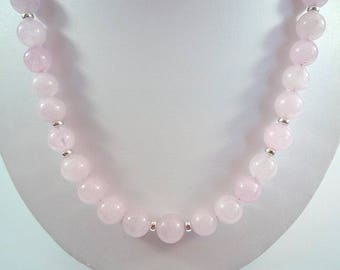 Rose Quartz Necklace Gemstone Necklace Pink Quartz Necklace Rose Quartz Sterling Necklace Rose Quartz Strand Pale Pink Rose Quartz Necklace