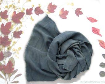 Blue wool scarf, botanical dyeing, fine wool wrap, natural blue beige scarf, indigo dyed, long soft wool scarf, gift for him, original gift