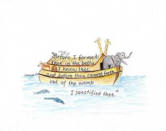 Noah's Ark scripture design print Jeremiah 1:5