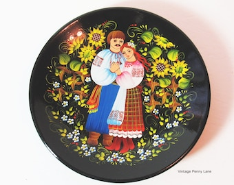 Vintage Wood Plate, Tole Painted Couple / Wedding Wooden Lacquer Dish, Folk Art