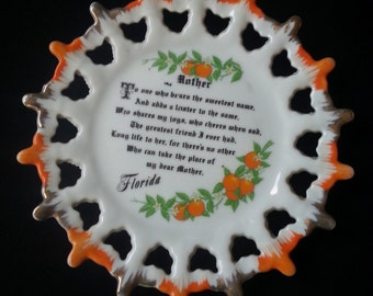 Vintage Florida Mother Souvenir Plate 1960s Ode to Mom