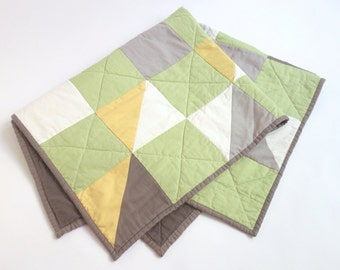 Cute baby quilt in lime green, grey, gold + white. Modern and fresh. Gender neutral, perfect for a boy or girl.