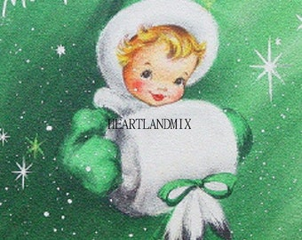 Merry Christmas Vintage Christmas Card Image Digital Printable Download