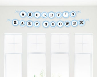 Baby Feet Blue Garland Banner - Custom Baby Shower Decorations