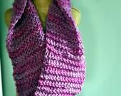 Bulky, Wide, Draped, Wrapping, Cowl, Pink, Wool, Fuschia, Purple, Handspun Yarn, Handknit Knit Scarf, Wool, Soft, Yospun