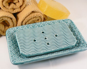 Ceramic Soap Dish with Drain in Teal Green with Scalloped Pattern Handmade