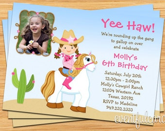 Cowgirl Horse Birthday Party Invitation with Photo