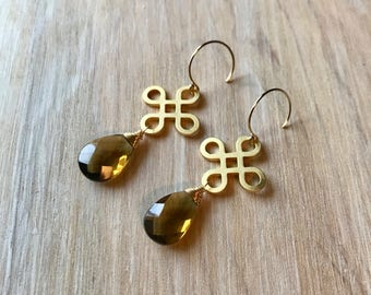 Beer Quartz Gold Wire Wrapped Handmade Gemstone Earrings