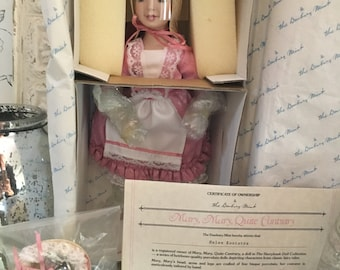 Mary, Mary Quite Contrary Porcelain Doll:  Vintage Danbury Mint Storybook Collection